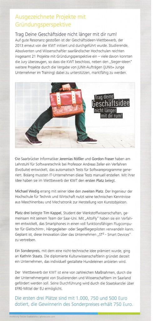 NewsletterKWTUniSaarland_Ausgabe1-2014